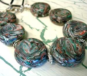 Detail Image for art  COIN DISC HANDMADE POLY CLAY BEAD NECKLACE - ORIGINAL DESIGN
