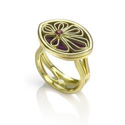 Art: Petal Locket Ring by Artist Andree Chenier