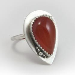 Art: Carnelian Cocktail Ring by Artist Andree Chenier