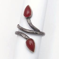 Art: Leaf Ring with Carnelian Gemstones by Artist Andree Chenier