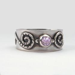 Art: Amethyst Ring with Wide Band by Artist Andree Chenier