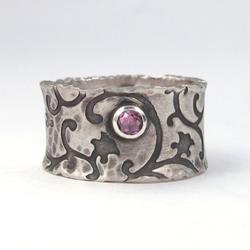 Art: Handmade Ring with Pink Garnet by Artist Andree Chenier