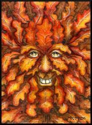 Art: Autumn Green Man by Artist Madeline  Carol Matz