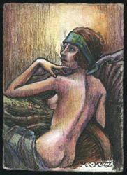 Art: ATC - Vintage Nude #6 by Artist Madeline  Carol Matz
