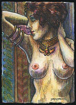 Art: ATC - Vintage Nude #7 by Artist Madeline  Carol Matz