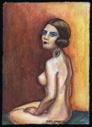 Art: ATC - Vintage Nude #8 by Artist Madeline  Carol Matz
