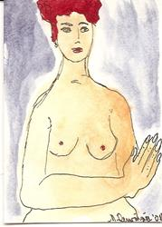 Art: Nude #15 original ACEO painting by Artist Nancy Denommee
