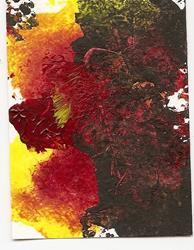 Art: Darkness with Fire original ATC by Artist Nancy Denommee