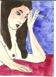 Art: Tania original ACEO ATC painting by Artist Nancy Denommee