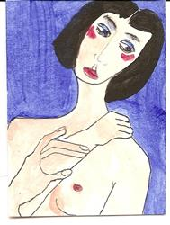 Art: Ruth Anders original ACEO ATC painting by Artist Nancy Denommee