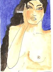 Art: Alia original ACEO ATC painting by Artist Nancy Denommee