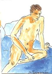 Art: Male Nude # 1 original ACEO painting by Artist Nancy Denommee