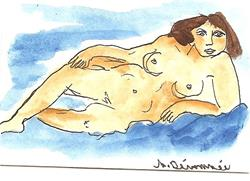 Art: Nude #1 original ACEO painting by Artist Nancy Denommee