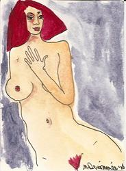 Art: Nude # 6 original ACEO ATC painting by Artist Nancy Denommee