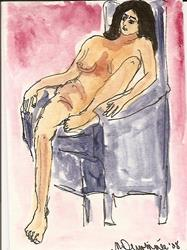 Art: Nude # 8 original ACEO ATC painting by Artist Nancy Denommee