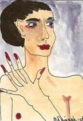 Art: Nude # 9 original ACEO ATC painting by Artist Nancy Denommee
