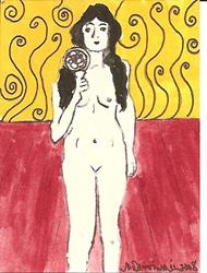 Art: Nude # 11 original ACEO ATC painting by Artist Nancy Denommee