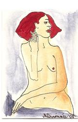 Art: Nude # 12 original ACEO ATC painting by Artist Nancy Denommee