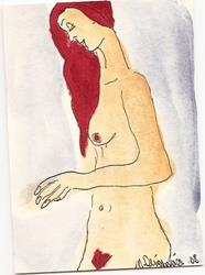 Art: Nude # 16 original ACEO painting by Artist Nancy Denommee