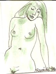 Art: Green Nude # 7 original  painting by Artist Nancy Denommee