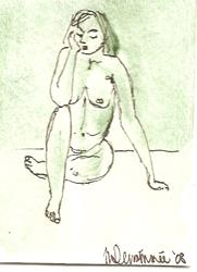 Art: Green Nude # 8 original ACEO painting by Artist Nancy Denommee