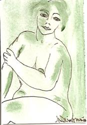 Art: Green Nude # 9 original ACEO painting by Artist Nancy Denommee