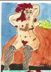 Art: Stockings original ACEO painting by Artist Nancy Denommee
