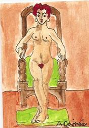 Art: The Chair original ACEO painting by Artist Nancy Denommee