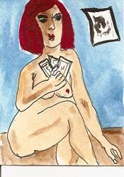 Art: Gin Rummy original ACEO painting by Artist Nancy Denommee
