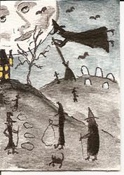 Art: Witches Gathering original ACEO by Artist Nancy Denommee