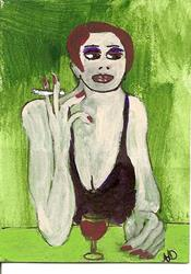 Art: Smoke that Cigarette original ACEO painting by Artist Nancy Denommee