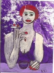 Art: Purple Smoke original ACEO painting by Artist Nancy Denommee