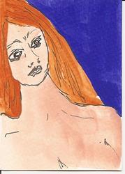 Art: Nude with Red Hair original ACEO painting by Artist Nancy Denommee