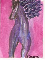 Art: Horse original ACEO painting by Artist Nancy Denommee