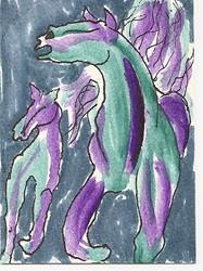 Art: Running Horses original ACEO painting by Artist Nancy Denommee