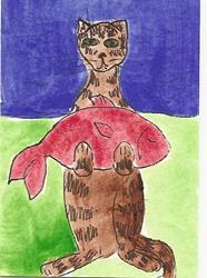 Art: Kitty Carrying a Snack original ACEO painting by Artist Nancy Denommee