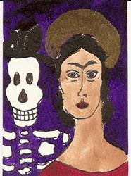 Art: Frida Kahlo with Skeleton original ACEO painting by Artist Nancy Denommee