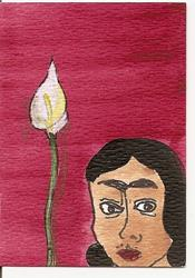 Art: Frida Kahlo with Lily original ACEO painting by Artist Nancy Denommee