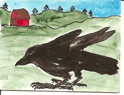 Art: Crow in the Country original ACEO painting by Artist Nancy Denommee