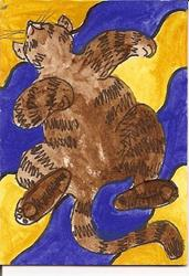 Art: Kitty Wants a Tummy Rub ACEO ATC by Artist Nancy Denommee