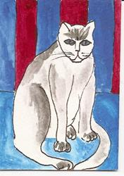 Art: Pearl Kitty original ACEO painting by Artist Nancy Denommee