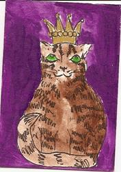 Art: King of the House original ACEO painting by Artist Nancy Denommee