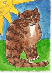 Art: Tabby Under the Sun original ACEO painting by Artist Nancy Denommee