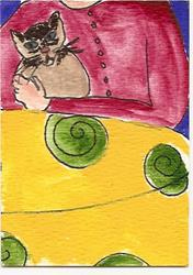 Art: Kitty in my Arms original ACEO painting by Artist Nancy Denommee