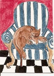 Art: Kitty in Striped Chair original ACEO painting by Artist Nancy Denommee