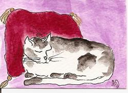 Art: Kitty Sleeps on a Fancy Cushion original ACEO painting by Artist Nancy Denommee