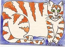 Art: Kitty Taking a Break original ACEO painting by Artist Nancy Denommee
