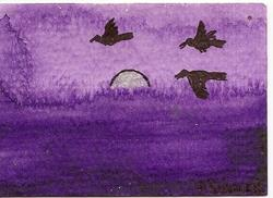 Art: Crows Fly into the Purple Dusk ACEO by Artist Nancy Denommee