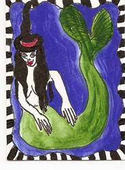 Art: Witchy Mermaid original ACEO painting by Artist Nancy Denommee