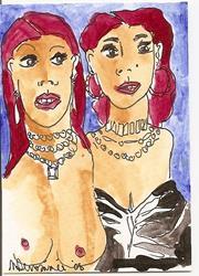 Art: Sisters original ACEO by Artist Nancy Denommee